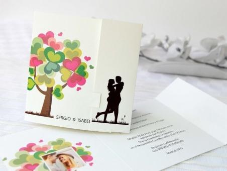 Invitación de boda romantica alegre 32681
