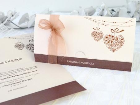 Invitación de boda elegante marron beis 32682