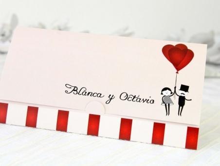 Invitación de boda barata novios globos 32691