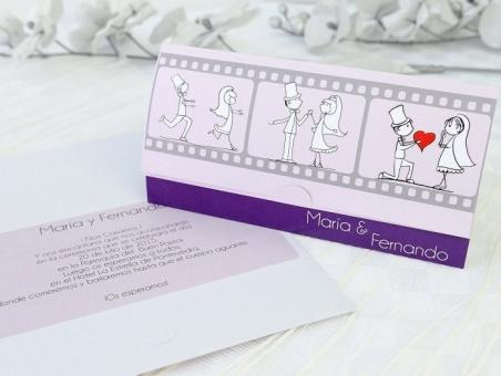 Invitación de boda barata pelicula novios 32692