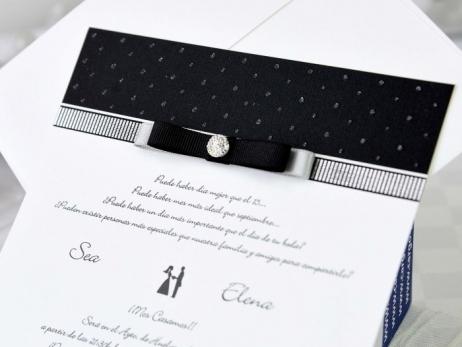 Invitación de boda - ELEGANTE BLANCO Y NEGRO   (A72570)