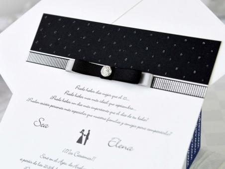 Invitación de boda elegante blanco y negro 70725