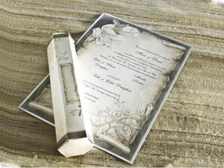 Invitación de boda barata pergamino 30109