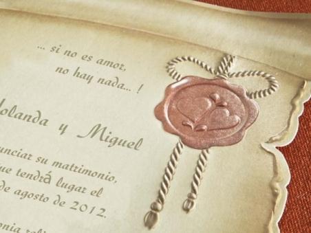 Invitación de boda barata pergamino medieval 30114