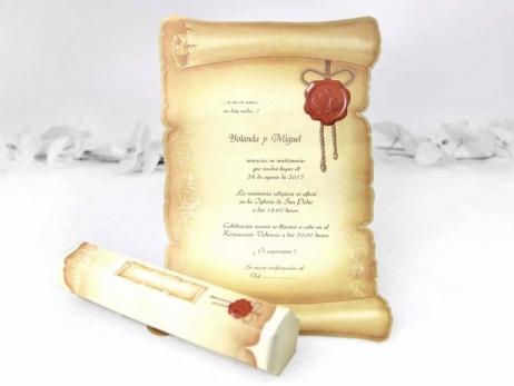 Invitación de boda - PERGAMINO CON CAJA    (CARD 30114)