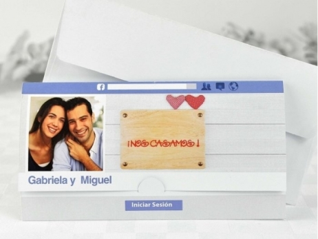 Invitación de boda - FACEBOOK CON FOTO   (A61032)