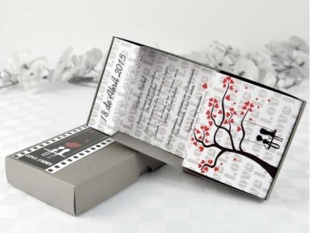 Invitación de boda original caja pelicula del amor 32697