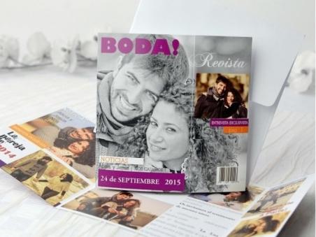 Invitación de boda barata con fotos original 32694