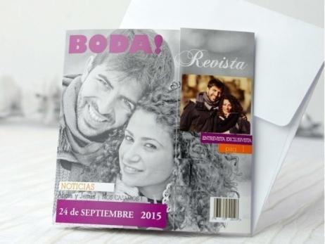 Invitación de boda - REVISTA CON FOTO   (A69432)