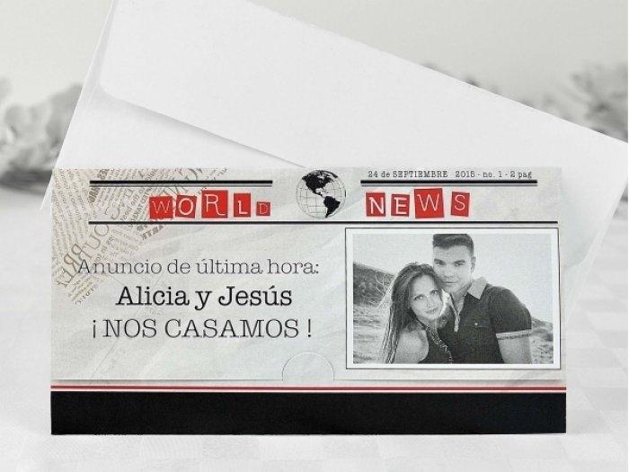 Invitación de boda - PERIODICO CON FOTO    (A61532)