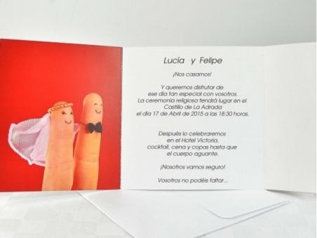 Invitación de boda barata huellas dactilares 32618