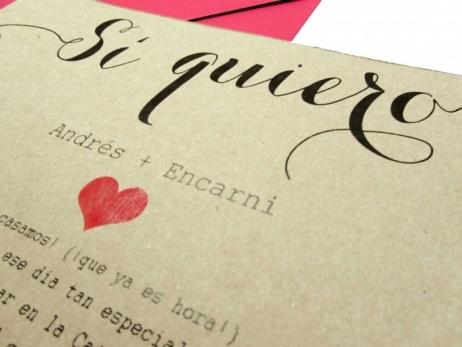 Invitación de boda - KRAFT SI QUIERO    (FB106)