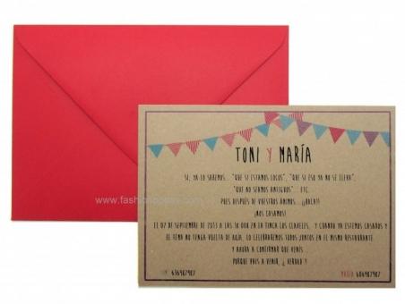 Invitación de boda barata informal KRAFT BANDERINES