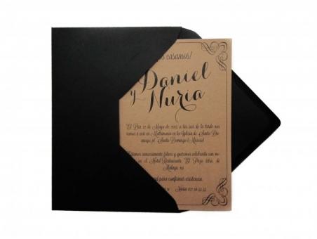 Invitación de boda barata moderna elegante KRAFT CLASICA