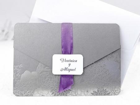Invitación de boda barata elegante gris 39113