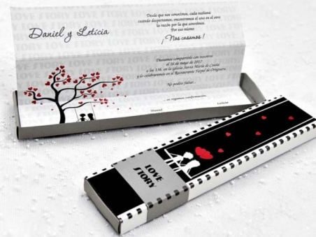 Invitación de boda barata caja pelicula diferente 39116