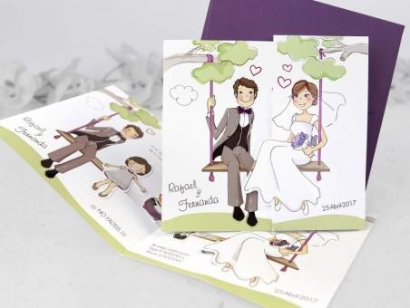 Invitación de boda con hijos barata CARD 39124
