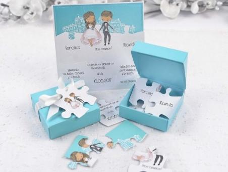 Invitación de boda original caja con puzzle  39125