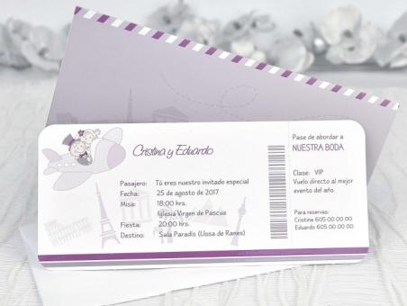 Invitación de boda barata billete de avion 39131