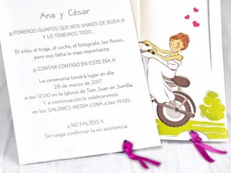 Invitación de boda - NOVIOS EN MOTO   (C13239)