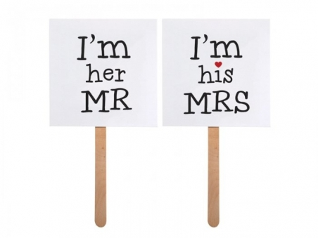 MINI CARTEL PARA PHOTOCALL  I'm his MRS/I'm her MR