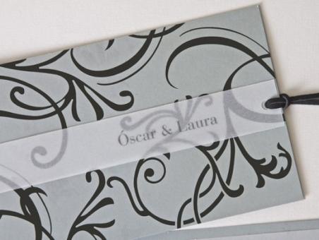 Invitación de boda barata elgante plata y negra  100.535