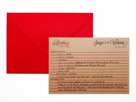 Invitación de boda - KRAFT RECETA DEL AMOR   (FB105)