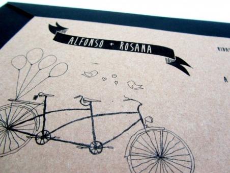 Invitación de boda barata tandem bicicleta KRAFT BICI