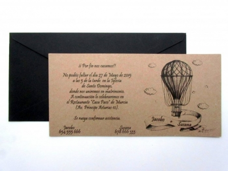 Invitación de boda barata moderna KRAFT GLOBO antiguo