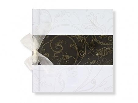 Libro de firmas - FLORES blanco y marrón