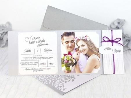 Invitación de boda elegante con foto 39206