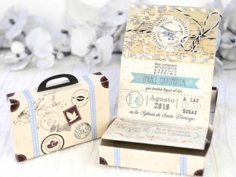 Invitación de boda -  MALETA VIAJES    (C22339)