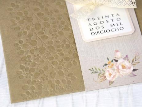 Invitación de boda -  KRAFT CON FLORES     (C22439)