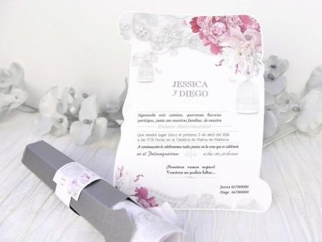 Invitación de boda - PERGAMINO ELEGANTE   (C22739)