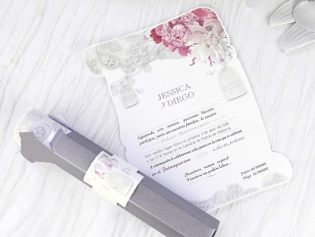 Invitación de boda barata elegante pergamino con caja 39227