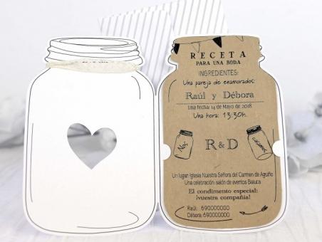 Invitación de boda rustica tarro 39229