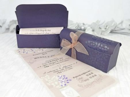 Invitación de boda barata caja cofre pergamino 39237