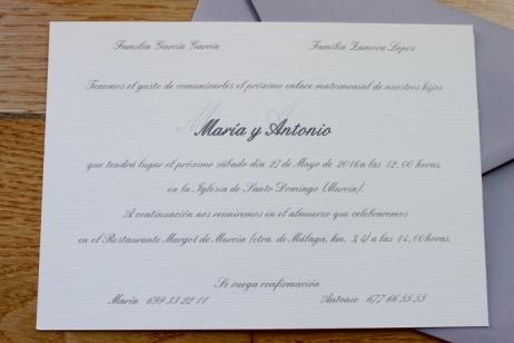 Invitación de boda - CLÁSICA GRIS