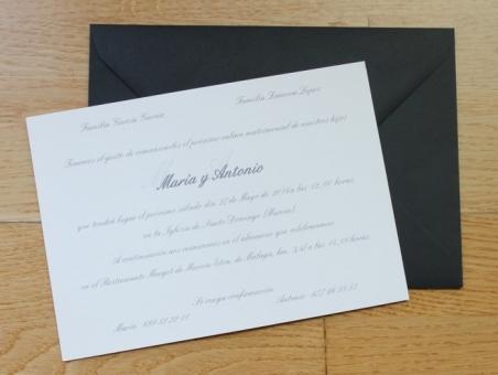 Invitaciones de boda clasicas elegantes sencillas sobre negro