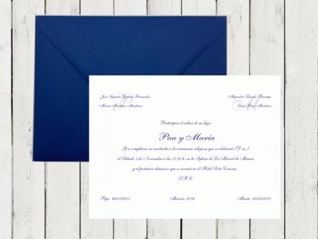 Invitación de boda - CLÁSICA AZUL MARINO