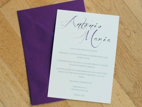 Invitación de boda - CLÁSICA 2 LILA