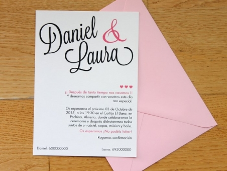 .Invitación de boda - CELOSIA ROSA CLARO