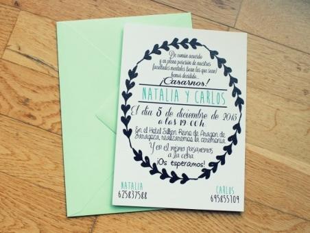 .Invitación de boda - CENEFA VERDE