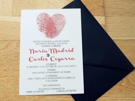 .Invitación de boda - HUELLAS DACTILARES