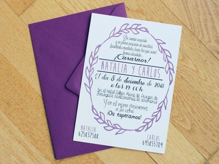 Invitación de boda - CENEFA 3 LILA