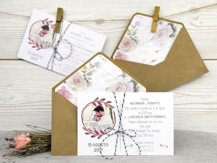 Invitación de boda - RÚSTICA CON FOTO    (A50032)