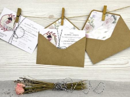 Invitación de boda campestre con foto 32500