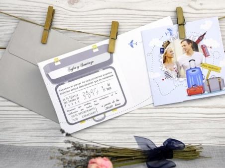 Invitación de boda viajes con foto 32505