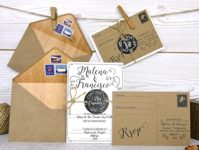 Invitación de boda - POSTAL KRAFT    (A51132)