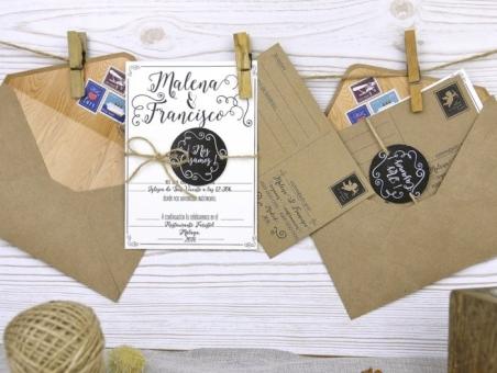 Invitación de boda postal kraft 32511